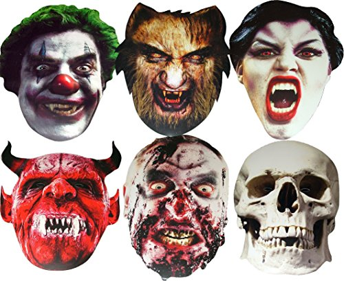 Halloween MULTIPACK - 6 Scary Card Face Mask