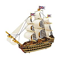 ROBOTIME 3D Wooden Puzzle Model Ship DIY Woodcraft kits Educational Toys for Boys and Girls(Victory)