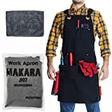 Shop Apron - Waxed Canvas woodworking aprons for men and women with 6 Spacious Pockets - Welding Tool Apron for Work Shop with Microfiber Towel Included - Smart Straps Design - BBQ Apron Adjusts S-XXL
