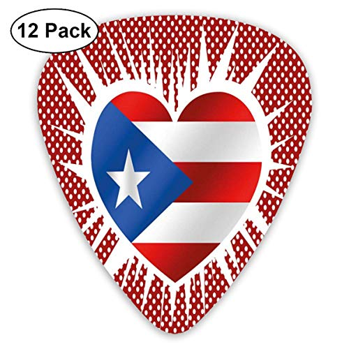Celluloid Guitar Picks - 12 Pack,Abstract Art Colorful Designs,Retro Polka Dotted Background With Heart Shape And Flag Motif,For Bass Electric & Acoustic Guitars.