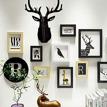 ohne die Elemente in den Regalen Mule Hirschkopf Foto Wand Kombination Frame Wand moderne Dekoration weiß hellgelb schwarz / 10 Box für die Wandfläche 115 * 86cm
