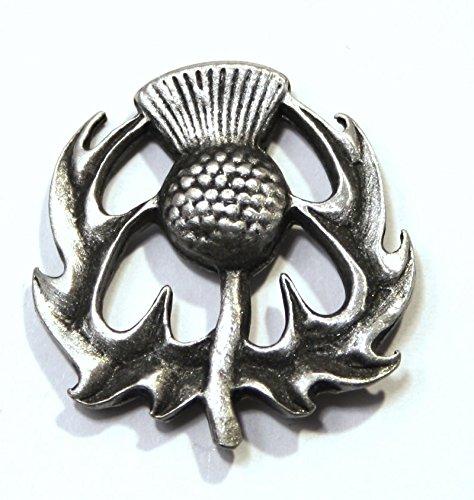 Jewellery Thistle Scottish (Solid Pewter Scottish Thistle Pin Badge)