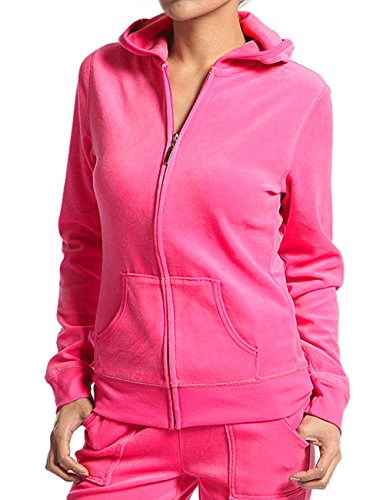 Hot Pink Jacket (Velour Classic Hoodie Sweat Jacket with Pockets (Small, Hot Pink))