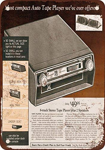 MMGHGT 1972 Car 8-Track Tape Player Vintage Look Reproduction Metal Tin Sign 8X12 Inches