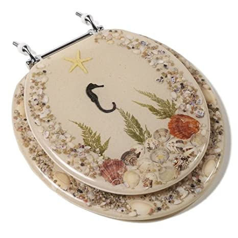 Acrylic Toilet Seat with Chrome Hinges, Round, Seahorse