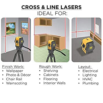 Johnson Level & Tool 40-6648 Self-Leveling Cross and Line Laser; Cross-Line Laser and Additional 90 Degree Plumb Line