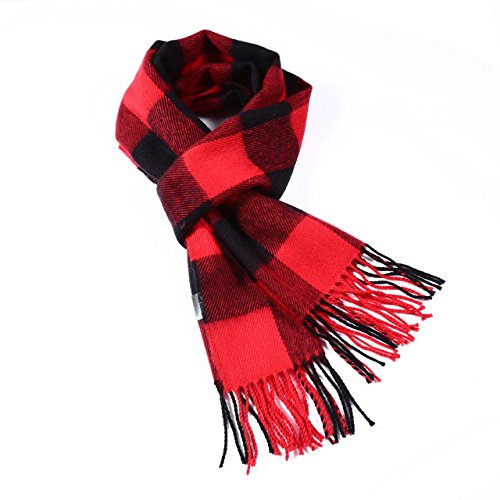 Luxuriouse Soft Wool Touch Tassel Ends Scarf (Buffalo Plaid Red Scarf)