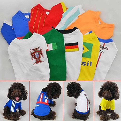BeesClover Pet Clothing Dog Costumes Football Soccer T Shirts Country National Team Jersey Argentina XS