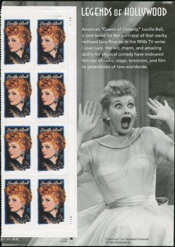 - LUCILLE BALL ~ LEGENDS OF HOLLYWOOD #3523 Plate Block of 8 x 34¢ US Postage Stamps WITH SIDE PANEL OF LUCY