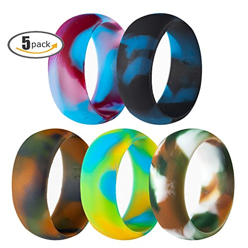 5 Pack Size 5-15 Rubber Silicone Rings Flexible Corssift Outdoor Wedding Engagement Gym Cocktail Hypoallergenic (5) (Food Cocktail Christmas Party)