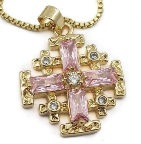 Jerusalem Stone Necklace - Nazareth Store Gold Plated Silver Jerusalem Cross Pendant Pink Rose Quartz Crystal Stone Necklace 20