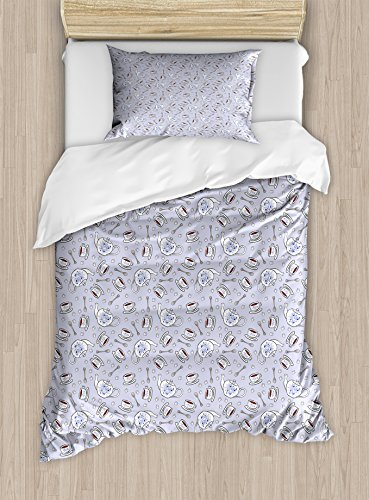 Tea Party Twin Size Duvet Cover Set by Ambesonne, Cups and Pot of Grand English Tradition Sugar Cubes and Little Spoons, Decorative 2 Piece Bedding Set with 1 Pillow Sham, Lilac Silver Navy Blue