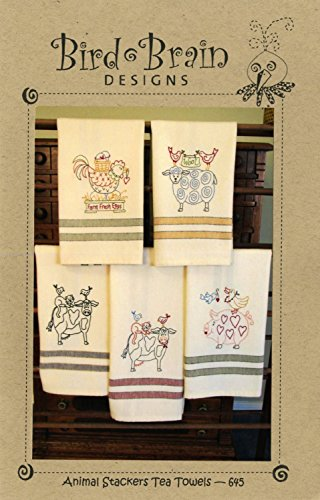 Animal Stackers Tea Towels Embroidery Pattern by Robin Kingsley from Bird Brain Designs 645
