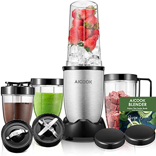 Blender, Aicook Smoothie Blender, 780W High-Speed Personal Blender, 15-Piece Smoothie Maker/Mixer Included 4-Piece BPA-Free Blender Bottles, Two SUS 304 Stainless Steel Blades, Grey