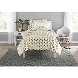 Metallic Gold Ikat Dot Design 100% Polyester 6-Piece Coordinating Comforter Set, Twin-XL Size