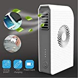 3 Speeds Mini Portable Handheld USB Rechargeable Bladeless Cooler Fan with 6000mAh Power Bank for Mobile Cell Phone