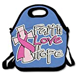 Faverlkujj Faith Love Hope Breast Cancer Awareness Lunch Bag Tote Handbag Lunchbox For School Work Outdoor