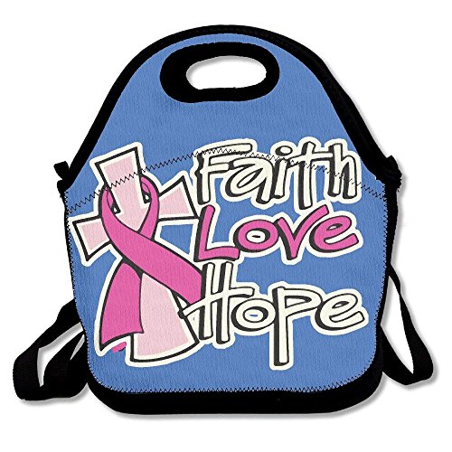 Faverlkujj Faith Love Hope Breast Cancer Awareness Lunch Bag Tote Handbag Lunchbox For School Work Outdoor by Faverlkujj