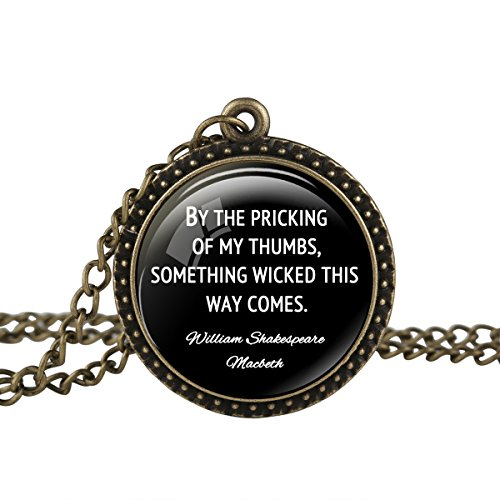 FM FM42 Vintage Style William Shakespeare Halloween Quote Round Pendant Necklace TN2724 -