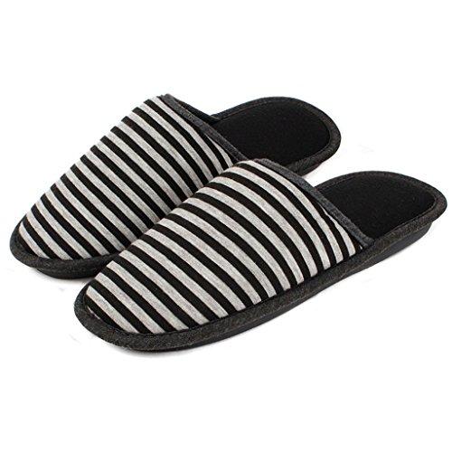 Hausschuhe DWW Einfache Winter Männer und Frauen Modelle Gestreifte Baumwolle Gepolsterte Warme Rutschfeste Schuhe Schwarz