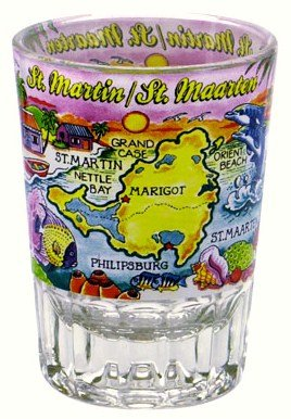 St.Martin/ St.Maarten Double Shot Glass (Martin Glasses)