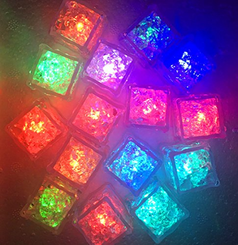 Multicolor Ice Cubes Light, 12-Pack Creative LED Lighting Flashing Liquid Sensor Cube Shape LED Decorative LED Ice Cubes Shape Lights Glow Light Up for Wedding, Club, Bar, Champagne Tower(12 (Dry Ice Cubes)
