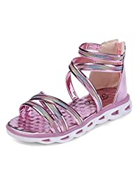 Girls Gladiator Sandals with Glitter Straps Zipper Open Toe Hot Water Shoes(Toddler/Little Kid)
