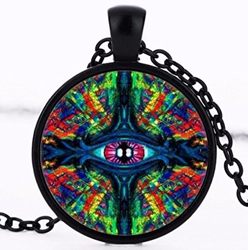 (Eye Twisted and Trippy Glass Pendant ,Necklace ,Round Art Photo Jewelry)