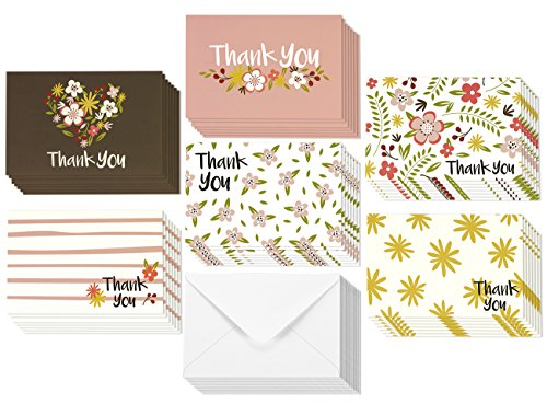 Thank You Note Cards for Her - Bulk Box Set - Blank on the Inside - Feminine Floral Flower Design - Includes 48 Greeting Cards and Envelopes - 4 x 6 Inches