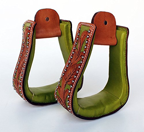 PRORIDER Western Show Horse Saddle Stirrups Lime Green Carving Tan Tooled Leather - Green Tack