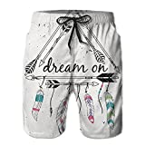 Richard Lyons Boho Style Tribal Ethnic Arrows Triangle Shape Dream On Hand Writing Feathers Men's Quick Dry Beach Shorts Casual Comfortable Surf Shorts L