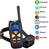 Dog Training Collar, PetCul 1500ft Rainproof and Rechargeable Remote Electric E-Collar with Beep/ 100 Level Vibration/Shock Fits Puppies (10-110lbs)