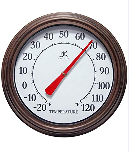 Infinity Instruments Rustic Indoor/Outdoor Wall Thermometer Brown/White/Black