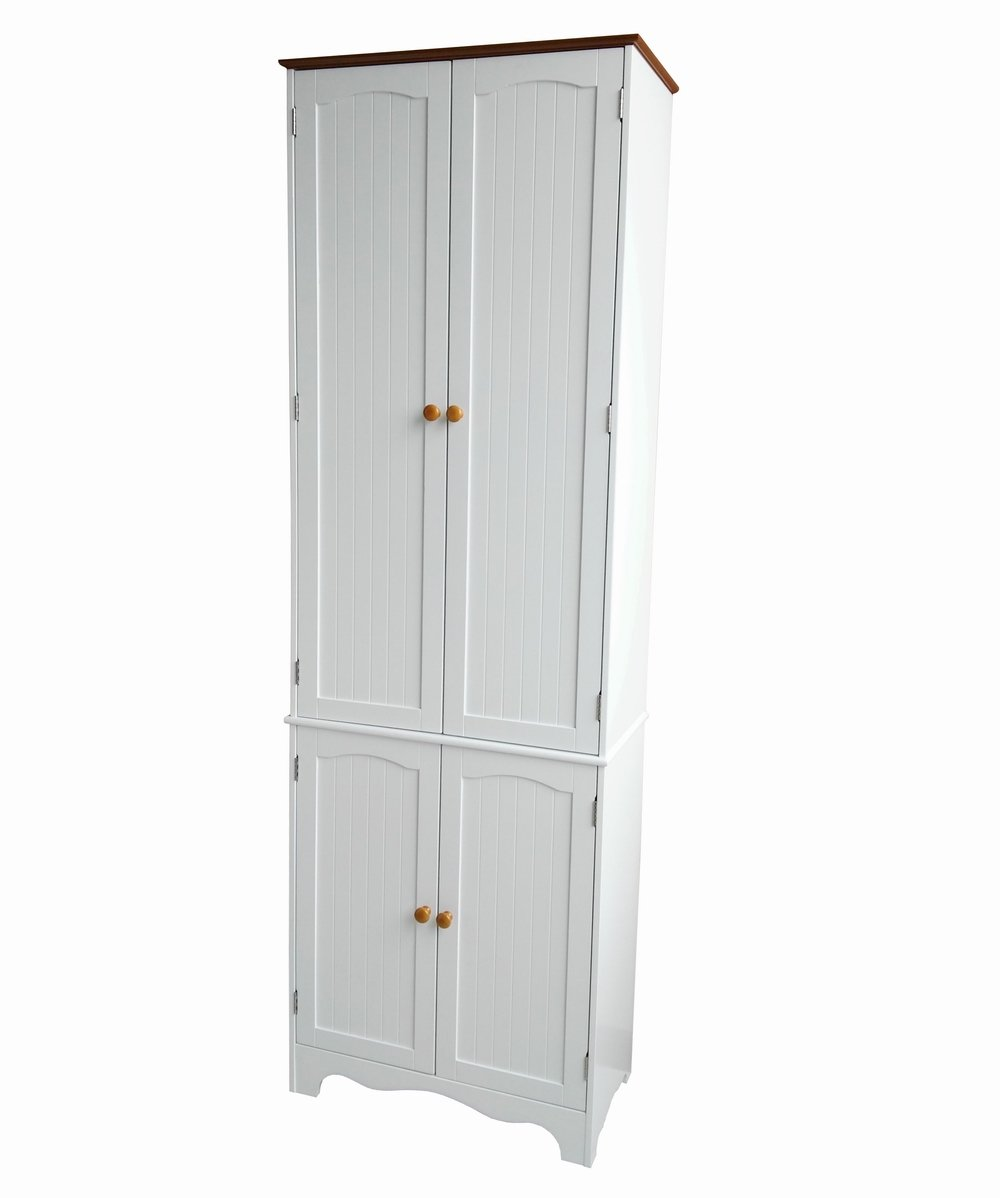 Free Postage of last day for UK Homecharm-Intl 60.5x30x183.5CM Wooden storage cupboard cabinet,White (HC-004)