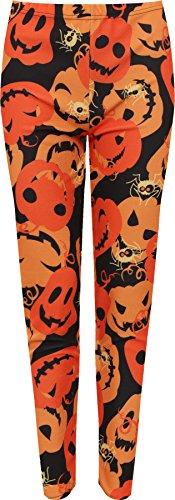 WEARALL Women's Plus Pumpkin Crepe Print Stretch Halloween Costume Leggings - Orange - US 12-14 (UK (Halloween Costume Cheap Uk)
