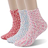 Women's Cute Terry Socks Time and River Fuzzy Fluffy Home Slipper Socks Red Blue and Colorful Pink 3 Pairs