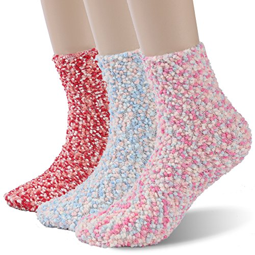 Women's Fuzzy Socks Time and River Soft Warm Home Slipper Crew Socks Red 1 (Lucky Match Socks)