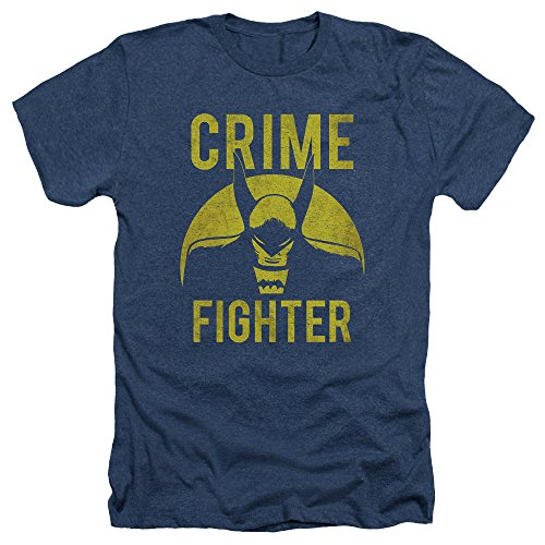Batman DC Comics Superhero Distressed Crime Fighter Adult Heather T-Shirt - Crime Batman Fighter