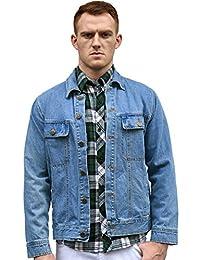 Allegra K Men Turn Down Collar Chest Flap Pockets Classic Jeans Denim Jacket