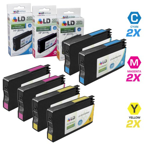 LD Remanufactured Replacement for HP 951 Set of 6 Ink Cartridges Includes: 2 Cyan CN049AN - 2 Magenta CN051AN - and 2 Yellow CN052AN