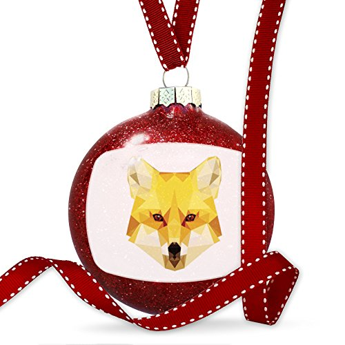 Christmas Decoration Geometric Animal art Fox Ornament by NEONBLOND
