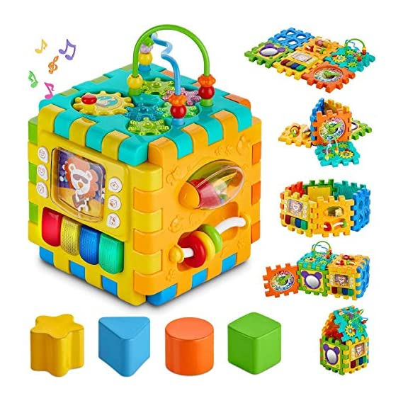 SMARTY TOYS Baby Activity 6 in 1 Shape Sorter Cube Toddler Toys Centers Educational Music Play Preschool Toy for Kids