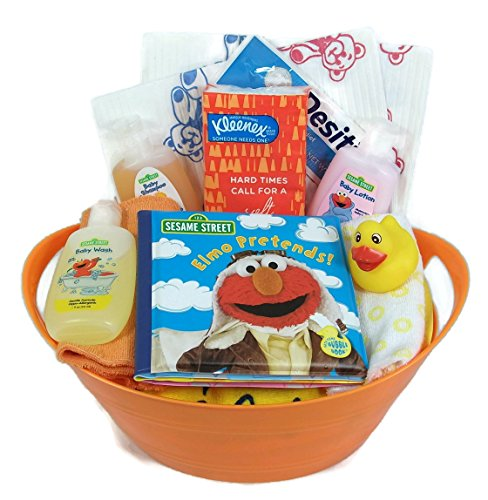 Sunshine Gift Baskets - 16 Piece Sesame Street Baby Bath Time Gift Set (Orange)