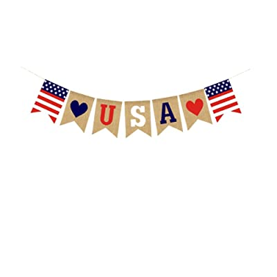 4th of July Banner USA Letter Banner Bunting America Independence Day Garland Bunting Banner Memorial Day Veterans Day Photo Prop Sign: Toys & Games