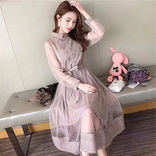 MiGMV?Premier Amour Robes Robe Retro Robe Longue Jupe Robe Grille,M,Rose Manches Longues