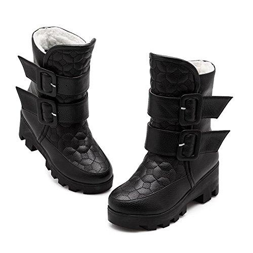 Calf Urethane Black Mid Womens Strap AdeeSu Metal Multilayer Boots SXC02526 AxzOIqYX