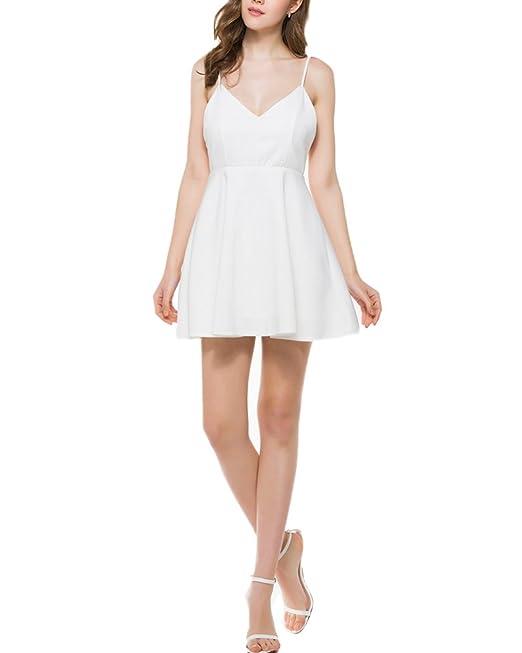 Mujer Vestido de Fiesta Sin mangas Elegantes Alas Cuello V Vestido de la honda Blanco L