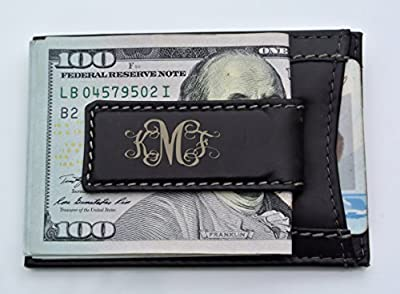 Engraved Men's Black Leather Magnetic Money Clip & Card Case Wallet Personalized Free Monogrammed Customized Free