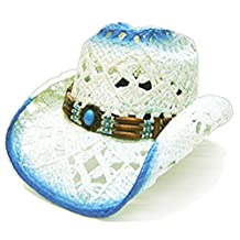 Modestone Women's Straw Cowboy Hat White & Blue