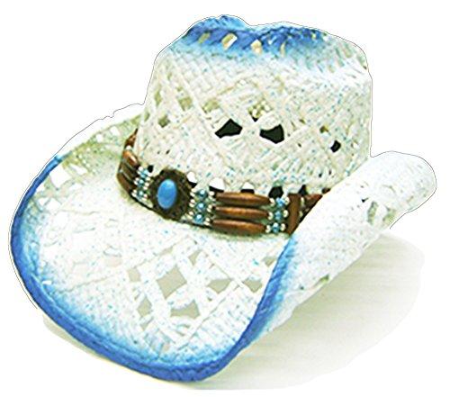 Women's Modestone Blue amp; White Cowboy Cappello Straw PAASwq74